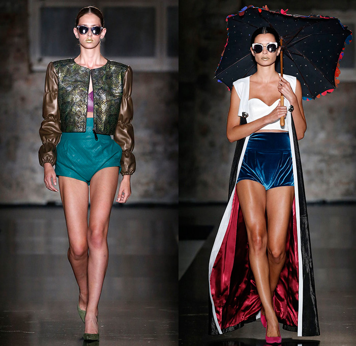 Pilar del Campo 2018 Spring Summer Womens Runway Catwalk Looks - 080 Barcelona Fashion Catalonia Catalan Spain - Nouveau Catalan Modernism Motorcycle Biker Rider Leather Moto Jacket Outerwear Wide Lapel Velour Velvet Grommets Eyelets Metal Rings Embroidery Embellishments Adornments Decorated Metallic Spikes Quilted Waffle Destroyed Destructed Ripped Threads Suede Fringes Mesh Perforated Cinch Balloon Sleeves Strapless Bustier Crop Top Midriff Bell Sleeves Robe Cutout Shoulders Shirtdress Lace Up Corset Shorts Hotpants Paper Bag Waist Straps Stockings Tights Fishnet Heels Pumps Chain Sunglasses Polka Dots Octagon Umbrella