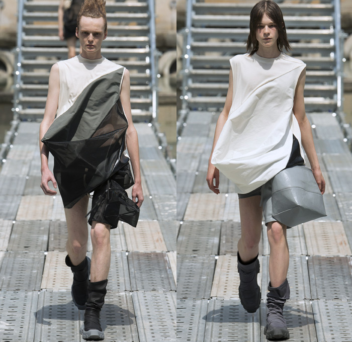 Rick Owens 2018 Spring Summer Mens Runway Catwalk Looks - Mode à Paris Fashion Week Mode Masculine France - Dirt Outerwear Parka Suit Blazer Double-Breasted Jacket Sleeveless Vest Waistcoat Frayed Raw Hem Crop Top Midriff Silk Sheer Nylon Sack Draped Hybrid Combo Panel Wrinkled Tie Up Perforated Twisted Shorts Baggy Wide Leg Trousers High Waist Palazzo Pants Combat Boots Straps Harness Drawstring Grosgrain D-Ring Cargo Pouch Thigh Bag Sling Fanny Pack Belt Bag Leather Braid