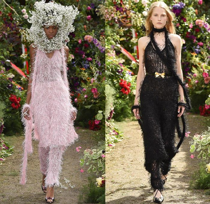 Rodarte 2018 Spring Summer Womens Runway Catwalk Looks Paris France - Motorcycle Biker Rider Leather Racer Moto Jacket Crop Top Midriff Quilted Waffle Panels Pearls Caviar Beads Ostrich Feathers Polka Dots Pastels Baby's Breath Flowers Floral Leaves Foliage Botanical Print Graphic Embroidery Embellishments Adornments Decorated Appliqués Bedazzled Metallic Studs Sequins Knot Ribbon Belt Sheer Chiffon Organza Tulle Frills Ruche Flounce Neck Ruffles Strapless Open Shoulders Maxi Dress Goddess Gown Eveningwear Tiered Cape Asymmetrical Hem Skirt Frock Fringes Knit Mesh Furry Cowgirl Western Boots