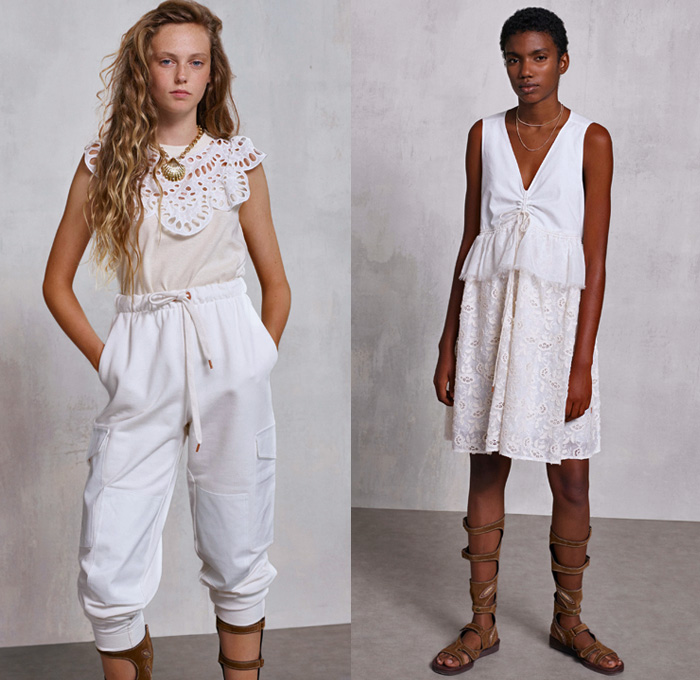 See By Chloé 2018 Spring Summer Womens Lookbook Presentation - New York Fashion Week NYFW - Cape Town South Africa Linen Coat Anorak Knit Cardigan Mesh Crochet Weave Sweater Jumper Lace Needlework Flowers Floral Palm Tree Leaves Foliage Denim Shirtdress Jeans Chambray Blouse Caftan Drawstring Jumpsuit Coveralls Dungarees Pinafore Dress Cinch Jogger Sweatpants Wide Leg Trousers Palazzo Pants Snap Buttons Tearaway Gladiator Sandals Necklace Clam Purse Tote Handbag Leaf Bag Rope Garden Hat