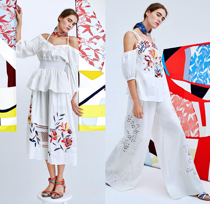 Tanya Taylor 2018 Spring Summer Womens Lookbook Presentation - New York Fashion Week NYFW - Hand-Painted Tulips Flowers Floral Leaves Foliage Petals Print Motif Strapless Pleats Ruffles Mesh Perforated Lasercut Stripes Bell Sleeves Sleeveless Leg of Mutton Sleeves Halterneck Blouse Shirtdress Tie Up Waist Dress Skirt Frock Wide Leg Trousers Palazzo Pants Angular Hem Tiered Colored Pumps Scarf Choker