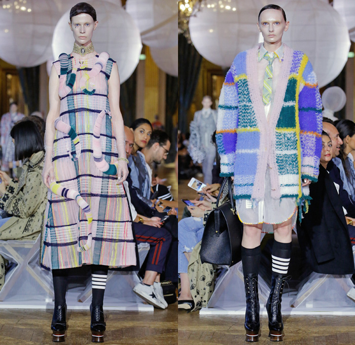 Thom Browne 2018 Spring Summer Womens Runway Catwalk Looks - Mode à Paris Fashion Week France - Fairy Tale Ball Hat Unicorn Sculptural Beehive Saggy Breasts Flabs Madras Cutout Sheer Tulle Fur Fringes Plaid Check Stripes Bedazzled Jewels Sequins Flowers Floral Embroidery Houndstooth Patchwork Quilted Octopus Tentacles Ribbons Split Coat Jacket Crop Top Cutout Halterneck Necktie Bow Badminton Rackets Corset Cardigan Shirtdress Crinoline Skirt Dress Gown Elevator Boots Handbag Briefcase Choker