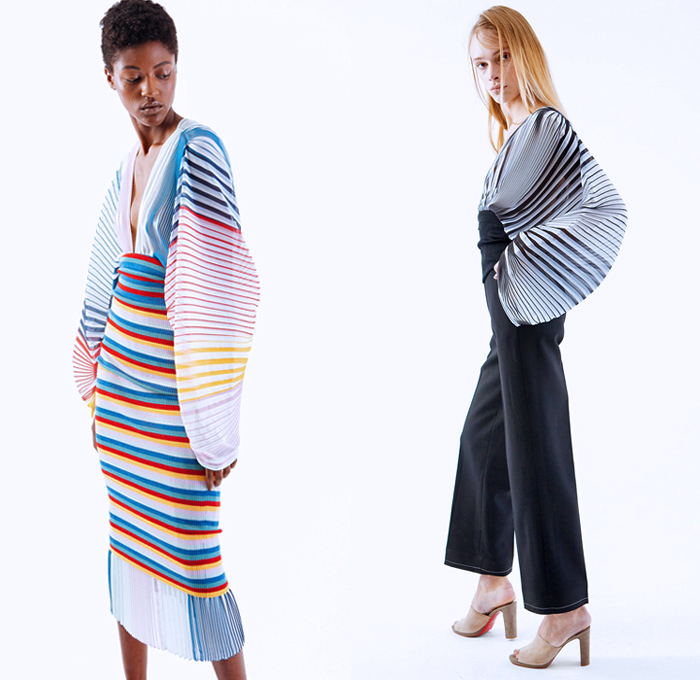 TOME 2018 Spring Summer Womens Lookbook Presentation - New York Fashion Week NYFW - Rainbow Stripes Dimensional Organic Shape Sculptural Accordion Pleats Folds Sheer Chiffon Drawstring Lace Up Sash Waist One Shoulder Drapery Knitwear Ribbed Ruffles Flounce Tie Up Waist Knot Wrap Plaid Tartan Check Long Sleeve Blouse Shirt Skirt Frock Maxi Dress Cape Wide Leg Trousers Palazzo Pants