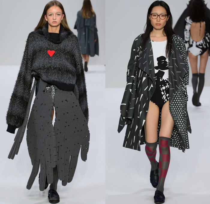 Triinu Pungits 2018 Spring Summer Womens Runway Catwalk Looks - London Fashion Week Collections UK United Kingdom - Foam Jazz Hands Cutout Carved Face Arms Unitard Leotard Knit Sweater Jumper Turtleneck Outerwear Coat Geometric Wide Lapel Check Zigzag Stripes Sweaterdress Onesie Heart Ruffles Stockings Tights Sandals