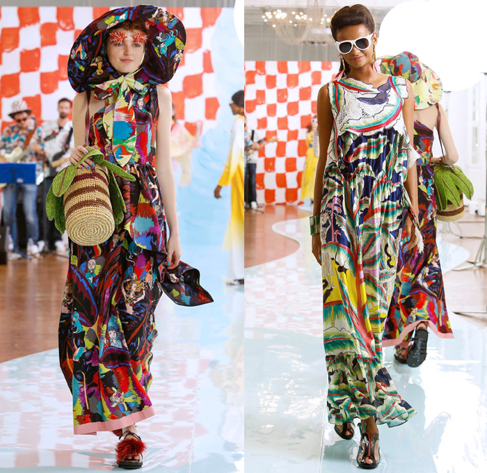 Tsumori Chisato 2018 Spring Summer Womens Runway Catwalk Looks - Mode à Paris Fashion Week France - Rockabilly 1950s Fringes Cartoons Drawings Sea Anemones Jellyfish Seashells People Flowers Floral Ruffles Knit Crochet Basketweave Mesh Holes Embroidery Bedazzled Studs Sequins Bamboo Check Tassels Patchwork Sheer Chiffon Pantsuit Vest Shirtdress Denim Jeans Jumpsuit Ombre Halterneck Blouse Crop Top Paper Cutout Dress Skirt Sunglasses Pompoms Tote VW Beetle House Bag Straw Hat Boots Bowling Shoes