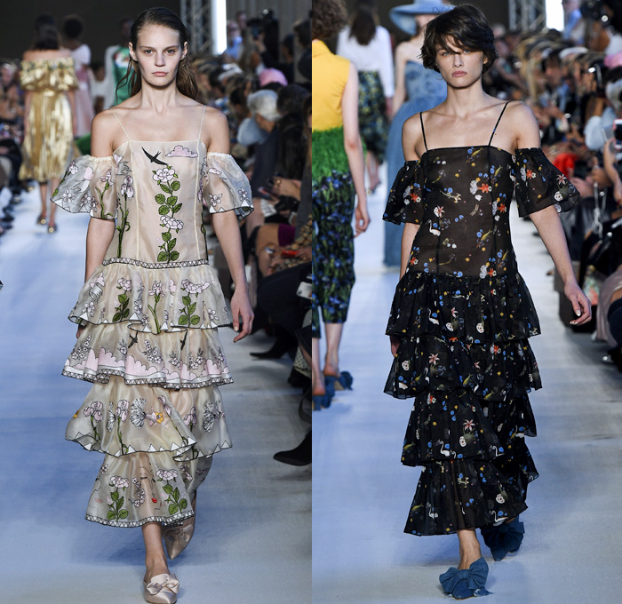 Vivetta Ponti 2018 Spring Summer Womens Runway Catwalk Looks - Milano Moda Donna Collezione Milan Fashion Week Italy - Andrey Remnev Artist Ostrich Feathers Embroidery Bedazzled Bow Tie Up Knot Gold Silk Satin Sheen Flowers Floral Accordion Pleats Tiered Ruffles Faces Silhouette Sheer Organza Mesh Tulle Plaid Check Tassels Ombre Fringes Flames Heart Dragonflies Fish Centaur Birds Blouse Strapless Noodle Strap Cutout One Shoulder Crop Top Halterneck Denim Jeans Hat Dress Eveningwear Boots Flats