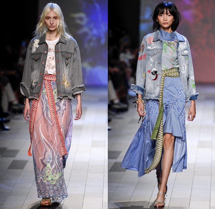 Vivienne Tam 2018 Spring Summer Womens Runway Denim Jeans Fashion Week Runway Catwalks Fashion Shows Season Collections Lookbooks Fashion Forward Curation Trendcast Trendsetting Forecast Styles Spring Summer Fall Autumn Winter Designer Brands