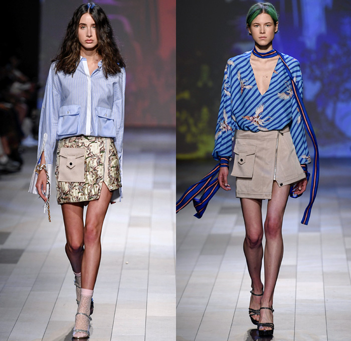 Vivienne Tam 2018 Spring Summer Womens Runway Catwalk Looks - New York Fashion Week NYFW - Wuba Monster Hunt Insects Animals Swans Rocks Trench Coat Denim Jeans Frayed Graffiti Cutout Shoulders Cargo Pockets Patchwork Fanny Pack Waist Pouch Handkerchief Hem Sheer Chiffon Tulle Bedazzled Grosgrain Strap Belt Stripes Rope Waist Lace Tribal Shirtdress Goddess Georgette Gown Tiered Dovetail Mullet Skirt Blouse Peasant Dress Strapless Braid Bracelets Scarf Tote Handbag Bamboo Basketweave