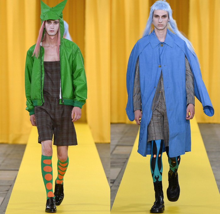 Walter Van Beirendonck 2018 Spring Summer Mens Runway Catwalk Looks - Mode à Paris Fashion Week Mode Masculine France - Owls Whisper Mullet Wig Fake Abs Pecs Geometric Face Long Sleeve Shirt Detachable Collar Metallic Silver Sheen Plaid Tartan Check Windowpane Hybrid Combo Panels Mix Match Mash Up Cutout Shoulders Suit Blazer Bomber Jacket Outerwear Coat Hanging Sleeve Hooded Parka Boxy Anorak Windbreaker Elongated Sleeves Shortall Combishorts Romper Onesie Coveralls Jumpsuit Slouchy Relaxed Pants Trousers Shorts Printed Socks Oxfords Tights Printed Leggings Leather Boots Bracelet Cuffs Sunglasses