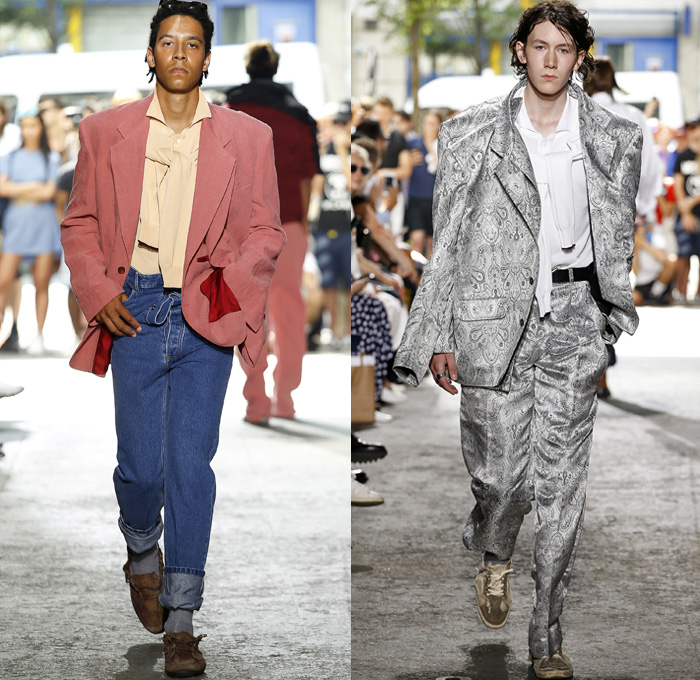 Y/PROJECT 2018 Spring Summer Mens Runway Catwalk Looks - Mode à Paris Fashion Week Mode Masculine France - Double Panels Extra Lining Collar Double Sleeves Overrun Slouchy Loose Baggy Oversized Hybrid Combo Cargo Pockets Tie Up Knot Ribbon Ornamental Print Silk Satin Drawstring Cinch Outerwear Coat Parka Suit Blazer Jacket Shirt Chunky Knit Sweater Jumper Capelet Sweatshirt Dad Jeans Peel Away Denim Wide Leg Trousers Trucker Jacket Pinstripe Flat Front Trousers Nylon Parachute Pants Braided Belt Sneakers Trainers Running Shoes Slippers Thongs