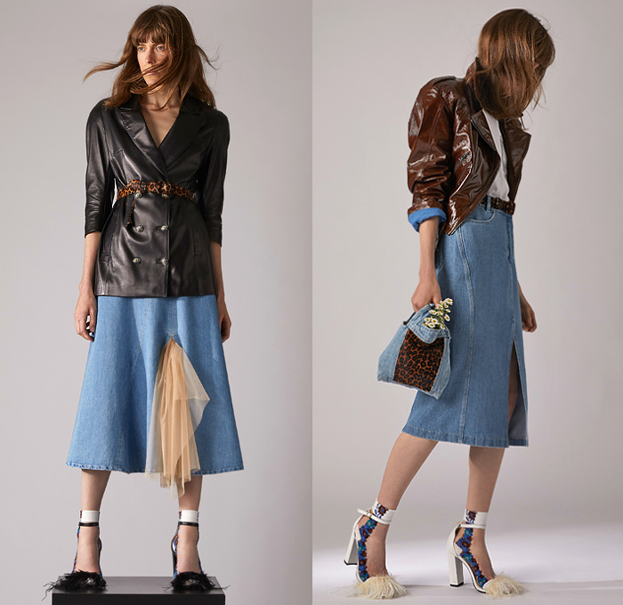 Simonetta Ravizza 2020 Resort Cruise Pre-Spring Womens Lookbook Presentation - Faded Denim Jeans Vest Cargo Utility Pockets Flowers Floral Print Dress Fur Plush Leopard Coat Blazer Anorak Sheer Tulle Vinyl PVC Zipper Cutout Frayed Raw Hem Skirt Metallic Silver Shorts Mesh Drawstring Tabard Handmaid Hat Bonnet Plaid Check Slouchy Pants Handbag Pouch Feathers
