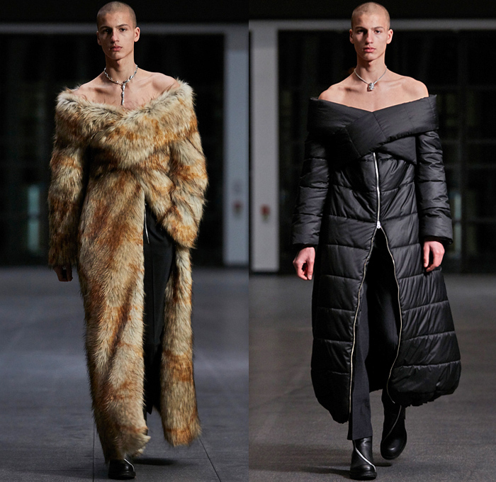 Ghembehha GmbH 2021-2022 Fall Autumn Winter Mens Runway Looks - Paris Fashion Week Mens Homme Automne Hiver - Welt Am Draht World On A Wire - Cross Wrap Strapless Open Shoulder Suit Blazer Quilted Puffer Oversized Coat Fur Plush Mockneck Knit Sweater Harness Slim Skinny Leather Long Sleeve Shirt Zippers Fitted Geometric Anorak Track Jacket Cargo Utility Pockets Snakeskin Clutch Bag Knee High Boots