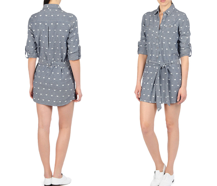 c67ee4776d51 (2) The Lorette Bardot Convoy Chambray One Piece Pullover Tie Dress  Shirtall - AG