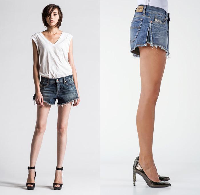 Diesel De-Mahima Denim Cutoff Shorts - Diesel 2014 Spring Summer Womens  Preview Made in