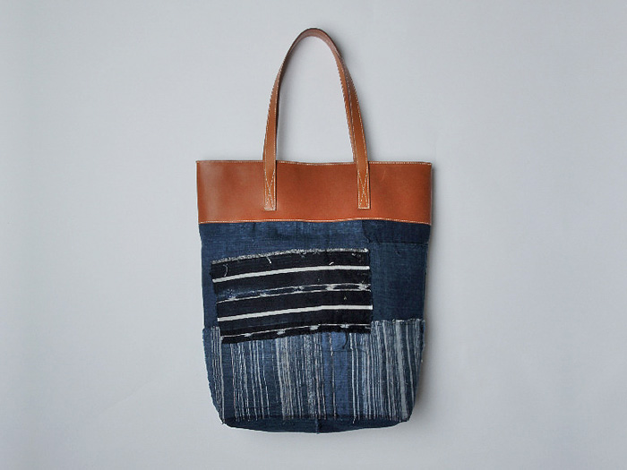 Lger Antique Japanese Boro Denim Tote Bag Barnia Tan Leather - Very Limited Edition Hand Made in France #madeindenim #denimfinds #fridayfinds #fridaydenimfinds
