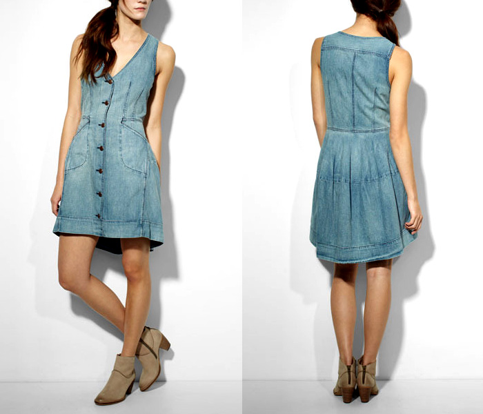 Innovative Stanzino Women39s Denim Sleeveless Buttondown Shirt Dress