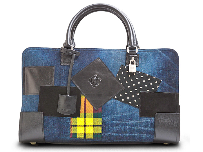 Loewe Womens Amazona Calf Leather Denim Bags and Pouch ...