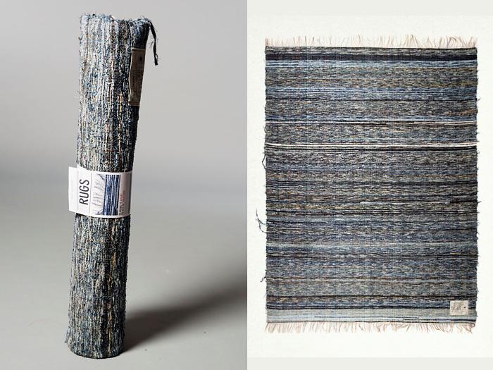 Nu Jeans Post Recycle Rag Rug Shuttle Loom Indigo Denim Limited Edition Home Decor