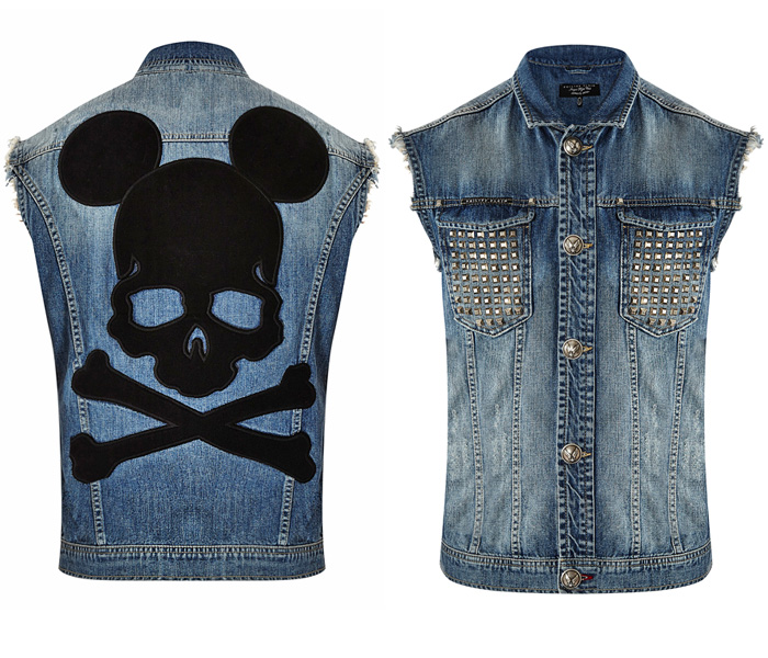 Philipp Plein Mr Mouse Metallic Studs Denim Vest Denim