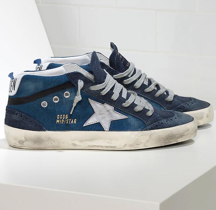 140b4fcabf Golden Goose Deluxe Brand Mens Denim Mid Star Sneakers   Denim Jeans ...