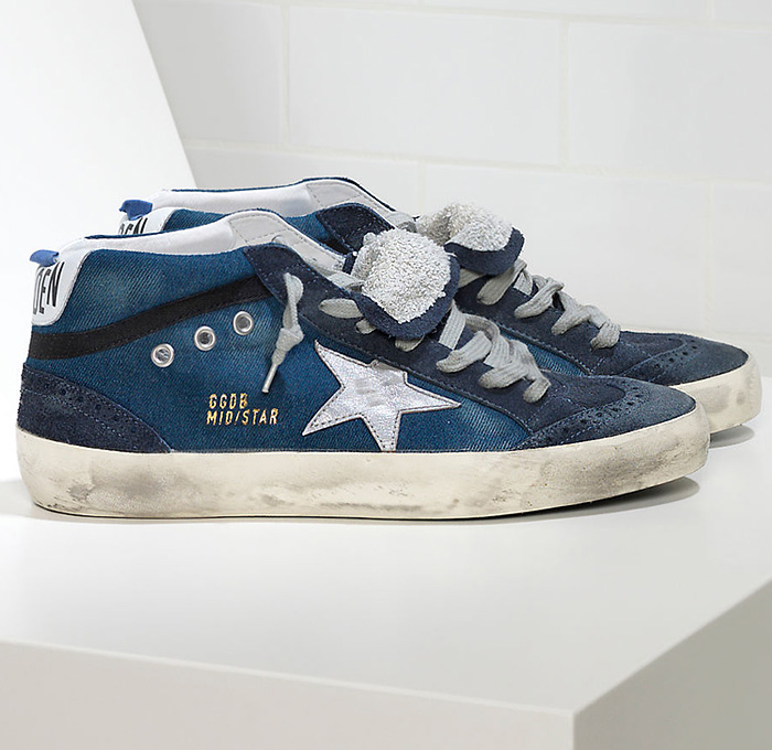 Golden Goose Deluxe Brand Mens Denim Mid Star Sneakers ...