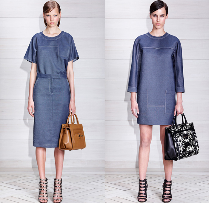 Jason Wu Silk Denim (L) Tee Shirt, Trouser Skirt and (R) Smock Dress - Made in Denim Finds - 2014 Resort Womens Cruise Collection Pre Spring