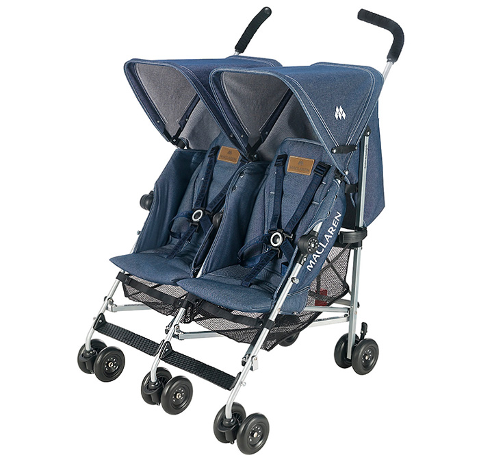 Maclaren Twin Triumph Baby Buggy Strollers - Infant Carriers 2 Seater  Harnesses Raincover Hood Shield Reclining