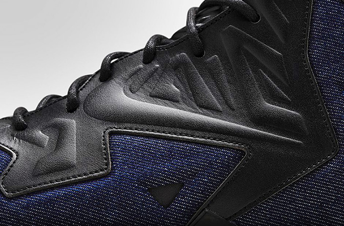 Nike Mens LeBron 11 EXT Denim Basketball Shoes - LeBron James Insignia Athletic Sport Jeans Footwear Fabric Kicks Black Leather Upper Rubber Shoes Mid Top Drop-in Zoom Midsole Streetwear Hardcourt - Made in Denim Finds Fashion Style - 2014 Spring Summer Collection