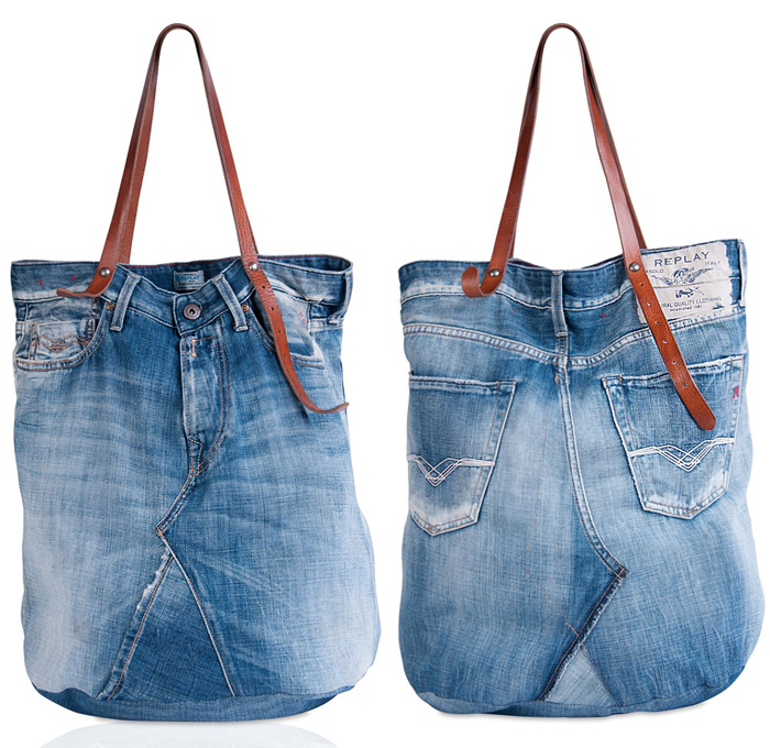 Replay Vintage Denim Jeans Tote Bag Denim Jeans Fashion