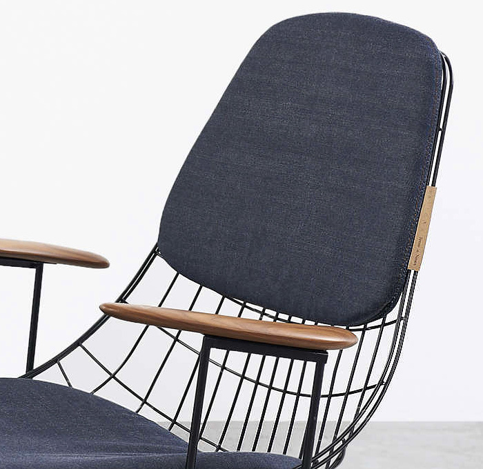 Tenue De Nimes + Pastoe Collaboration Design Denim Chair   Wire Collection  FM06 Lounge Chairs Denim