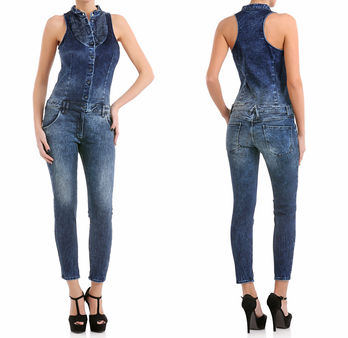 Cycle Italy Sleeveless Denim Salopette One Piece Jumpsuit Overalls