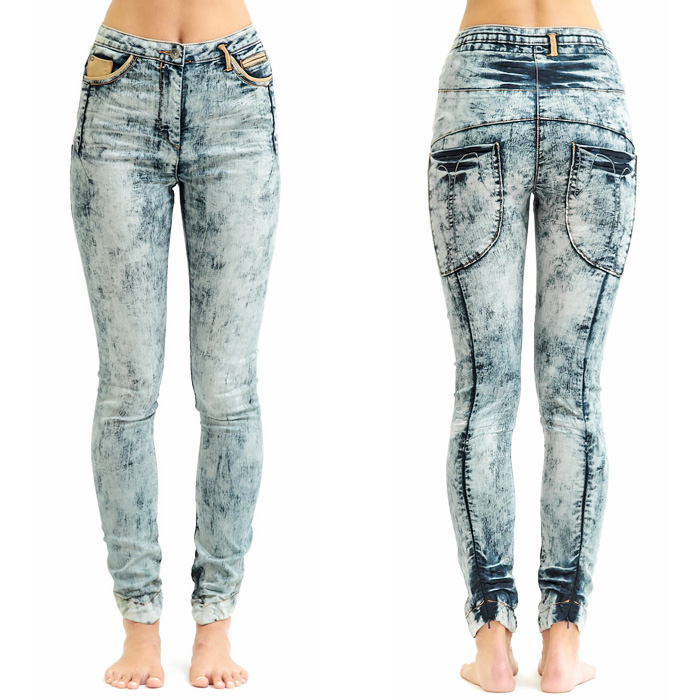 Jena.Theo Acid Wash High Waisted Denim Jeans