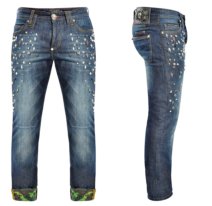 7fb470d8484 Army Blue - Philipp Plein Mens Straight Cut Conspicuous Studded Denim Jeans  - Trend Watch Thursdays