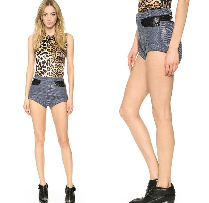 Rodarte Womens Laminated Snake and Blue Zebra Denim Shorts | Denim ...