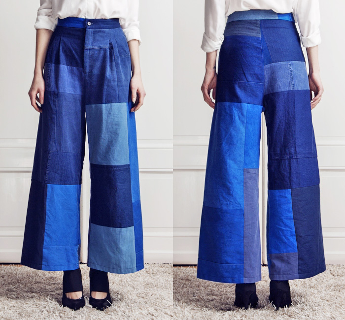 Rodebjer Womens Wide Leg Patchwork Pant Mina | Denim Jeans Fashion ...