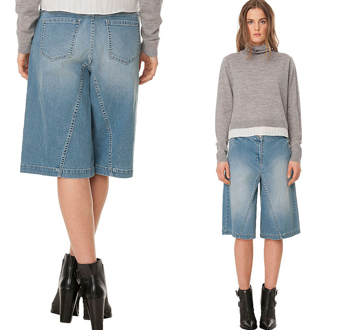 tibi womens flat front denim culotte denim jeans fashion week runway catwalks fashion shows. Black Bedroom Furniture Sets. Home Design Ideas